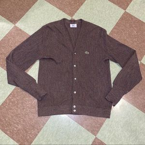 Vtg Lacoste acrylic brown cardigan sweater md